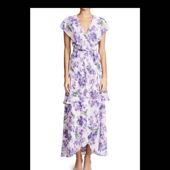 NEW Wayf Layered Maxi wrap Dress Lavender Floral